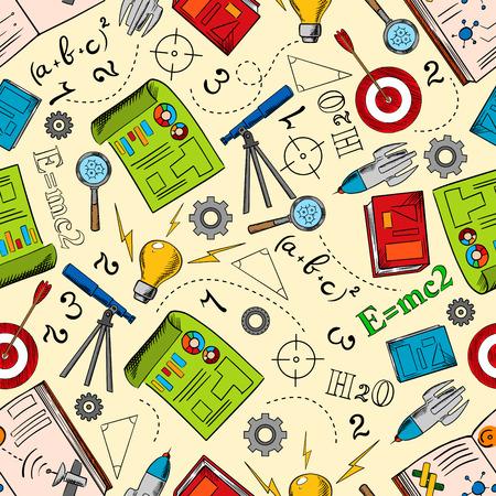 Natuurkunde, wiskunde en scheikunde achtergrond. Onderwijs naadloze patroon met boeken, tekeningen en idee lampen, telescopen, raketten en doelen, formules, stellingen, getallen, tandwielen en loepen Stock Illustratie
