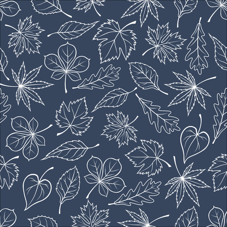 basswood: Seamless pattern of autumnal fallen leaves on gray background with white silhouettes of oak, maple and chestnut, birch, basswood and elm trees foliage. For autumn seasonal theme or nature design Illustration