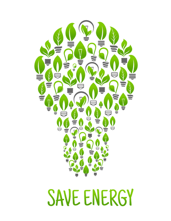 Save energy symbol of light bulb abstract silhouette created of incandescent light bulbs with green plants, leaves and sprouts. Use as ecology and energy conversation theme design Illustration