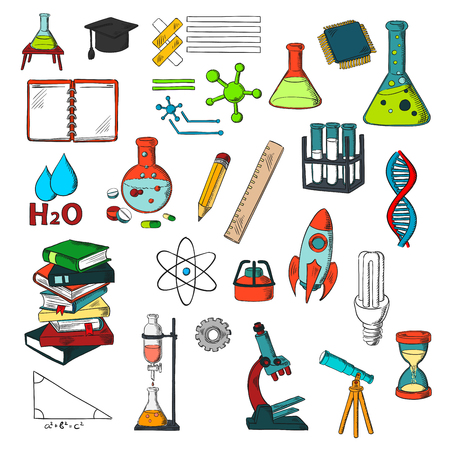 Education and sciense sketches with pile of books, pencil, ruler, laboratory flasks and tubes with gas burners, notebook, microscope, telescope, light bulb, rocket, models of atom, dna and molecules Illustration
