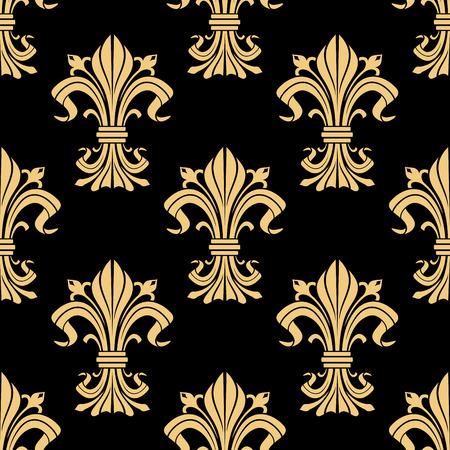 vintage scrolls: Golden victorian fleur-de-lis seamless pattern on black background with ornament of heraldic lilies, adorned by leaf scrolls and flower buds. Vintage interior design Illustration