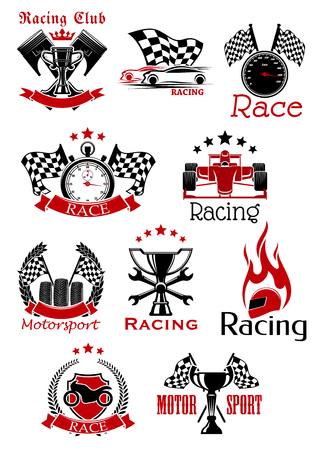 Motorsport icons and symbols with racing cars, motorcycle, trophy cups, flags and pistons, speedometer, tires, stopwatch, flaming helmet, spanners, adorned by heraldic shield, wreaths ribbon banners