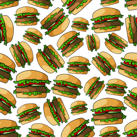 patty: Fast food burgers seamless pattern with fresh vegetables of juicy beef patty, tomatoes and cucumbers on wheat bun with lettuce. For cafe menu or takeaway food packaging design