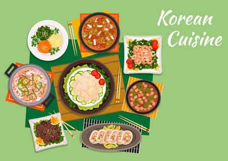 Korean cuisine beef bulgogi served with marinated vegetable salad and spicy kimchi soup, scallop salad, fried shrimps with spinach, seafood soup, stuffed squids and tofu soup with pork