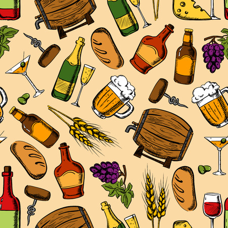 bread and wine: Alcohol drinks and cocktails with light snacks seamless pattern with wine, beer, champagne and whisky served with cheese, grapes, olives and rye bread. Bar and cafe design Illustration