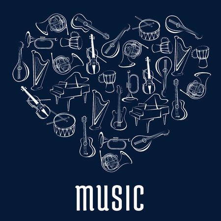 entertainment event: Heart shape, created of guitar, drum, trumpets, horn, piano, violin, harp and mandolin musical instruments. Love music concept or musical entertainment event poster design Illustration