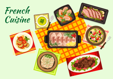 continental food: Fine cuisine of France with ratatouille stew, duck salad, pea cream soup, tuna salad nicoise, fried chicken liver, baked cod in bechamel sauce, chicken supreme and veal kidney fricassee Illustration
