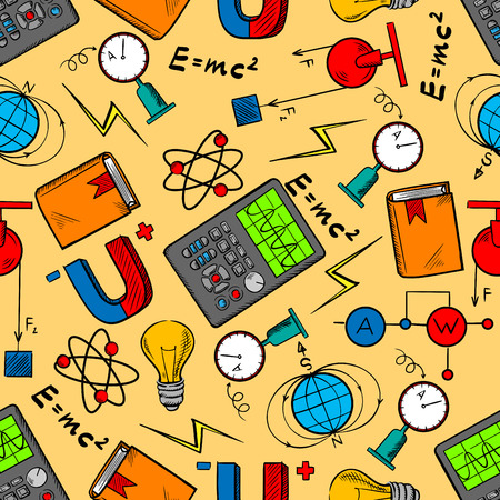 magnetic field: Science laboratory seamless pattern background with equipment for physics experiments, books, light bulbs, magnets and formulas, electrical circuits, models of atom and earth magnetic field Illustration