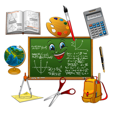 school classroom: School bag, pen, book, calculator, globe, paint palette with brush, scissors and compasses, arranged around classroom blackboard cartoon character with smiling face, math formulas and graphs