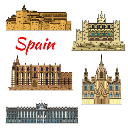 Colorful thin line travel landmarks of spanish architecture with Cathedral of Santa Maria in Palma and Barcelona Cathedral, Royal Palace in Madrid, Alhambra, Royal Palace of La Almudaina in Palma Illustration