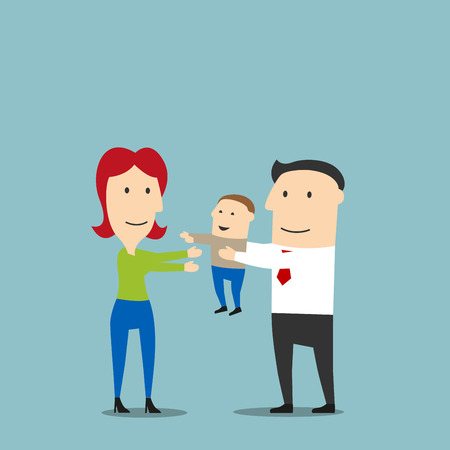 young boy smiling: Joyful cartoon young family with toddler son. Smiling little boy in the father hands reaching out for mother. Maybe use as happy family, childhood, parenting, leisure theme design Illustration