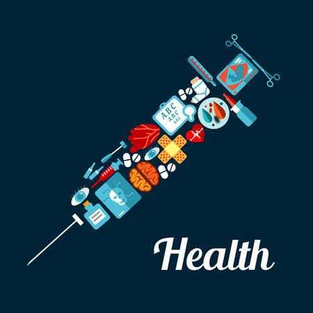 medical instruments: Healthcare and medicine symbol with flat icons of pills, hearts, brain, eyes, dropper, thermometer, baby ultrasound, skull x-ray, medical instruments, sight test chart and plaster cast arranged into syringe silhouette
