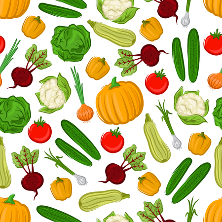 beetroot: Fresh farm vegetables background with tomato, onion, bell pepper, cabbage, cucumber, zucchini, beetroot, pumpkin and cauliflower seamless pattern. Agriculture and organic farming themes design Illustration