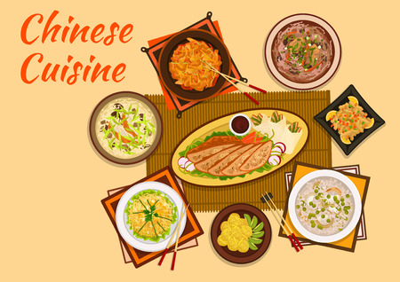 oriental cuisine: Chinese cuisine sweet and sour pork, peking duck dishes flat icon served with mango noodle salad, rice soup, meat with candied fruit, anise soup, hot and sour soup, sticky rice balls with kiwi fruit