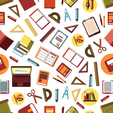 플랫 펜, 연필, 눈금자, 책, 노트북, 일기, 클립 보드, 그림, 가위, 나침반 및 졸업장을 사용 하여 아트 팔레트와 흰색 배경에 학교 및 사무실 공급 원활 일러스트