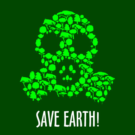sustainable development: Gas mask symbol with green plants and trees. Save earth concept, ecology, air pollution and sustainable development themes design