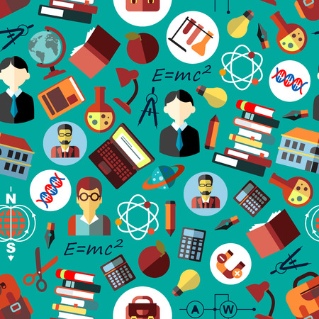 science lab: Science and education seamless pattern on blue background with flat symbols of teachers, students, school buildings, pens, pencils, laptops, books, calculators, backpacks, formulas, laboratory test tubes and globes, atom, DNA and planet models Illustration