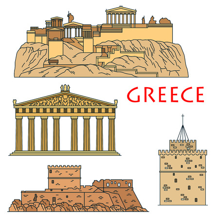 acropolis: Famous architectural heritages of Greece icon with colored linear Acropolis of Athens with temple of goddess Athena Parthenon, medieval gothic castle of the Knights of Rhodes and White Tower museum of Thessaloniki