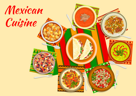 Mexican taco salad icon served in the center of a table with tomato soup, beef fajitas, bean stew chilli con carne, chilled avocado soup, chicken stew with tomato sauce, meat and pepper salad, beef tongue with vegetables. Flat style Illustration