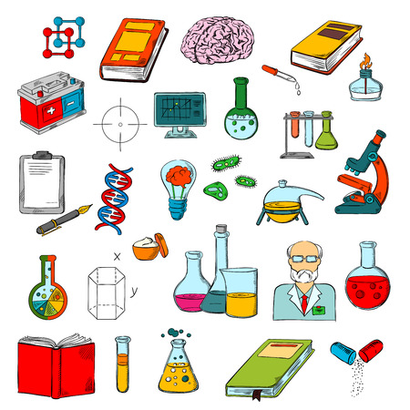science symbols: Physics, chemistry and medicine science research symbols of sketched books, microscope, scientist, computer, brain, laboratory test tubes, pill, DNA, battery, report clipboard and journal, gas burner, idea light bulb and geometric figures Illustration