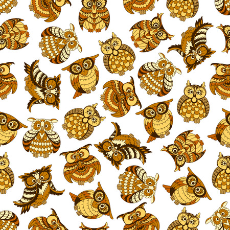 Owl and owlet seamless pattern with yellow and brown forest birds on white background. Education theme or scrapbook page backdrop design