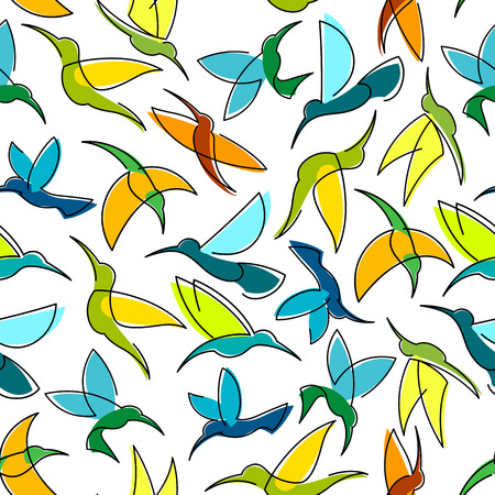 Flying hummingbirds seamless pattern with colorful silhouettes of tropical birds randomly scattered over white background. Tropical nature theme or interior design Çizim