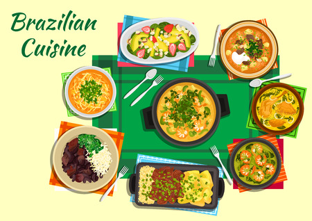 rice and beans: Traditional brazilian seafood and black bean stews flat icon served with tomato beef and spicy lentil soups, thick shrimp and duck soups with tucupi broth, grilled meat with yuca fries and rice and fruit salad with nuts Illustration