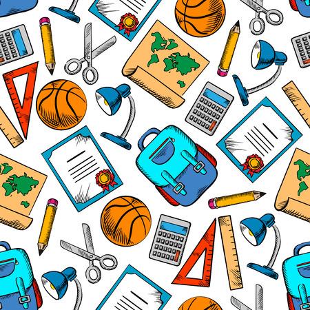 ball pens stationery: Color dibuj� transparente �tiles escolares y art�culos deportivos modelo en el fondo blanco con l�pices, reglas, calculadoras, mochilas, pelotas de baloncesto, tijeras, mapas del mundo, l�mparas de escritorio y diplomas