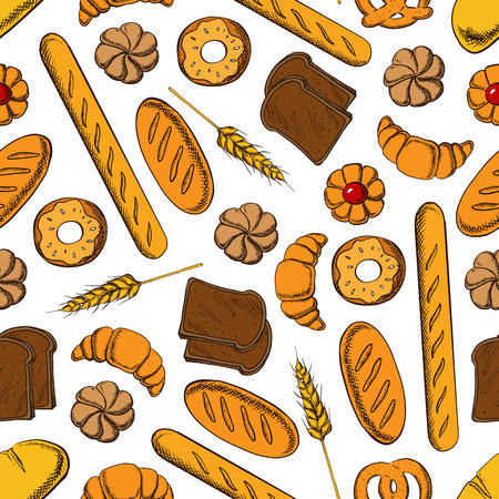 white bread: Bakery products seamless pattern with french croissant, glazed donut, bun with fruit jam, rye bread and wheat long loaves, baguette and salty bavarian pretzel with wheat ear on white background