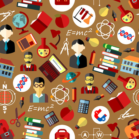 magnets: School teachers with students flat seamless pattern with books, pencils, pens, globes, calculators, laptops, school bags, formulas, atoms, DNA helices, lab flasks, magnets and light bulbs on brown background Illustration
