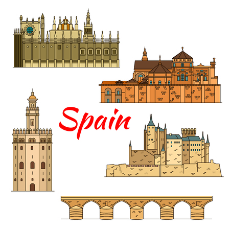 saint mary: Spanish historical travel landmarks thin line icon of moorish castle Alcazar of Segovia, Great Cathedral of Cordoba with Roman bridge, Cathedral of Saint Mary of the See and Gold Tower in Seville
