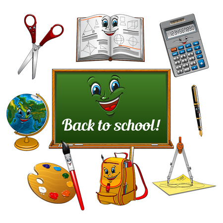 art pen: Colorful cartoon school supplies with blackboard. Cheerful pen, textbook, globe, calculator, scissors, art palette with paintbrush, school bag and compasses characters for Back to School theme design