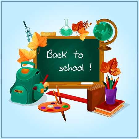 compasses: Classroom blackboard, decorated by orange autumnal leaves with book, pencil, ruler, backpack with school supplies, globe, palette with paintbrush, laboratory flask and compasses. Back to school design