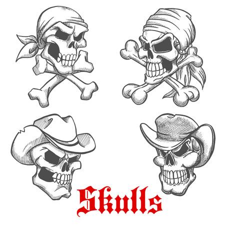 crânes dangereux esquissés de capitaine pirate et marin, bandanas avec des os croisés ci-dessous et des squelettes en colère de cow-boy l'ouest sauvage et shérif vieux chapeaux en cuir. Tatouage ou fête d'Halloween conception Vecteurs