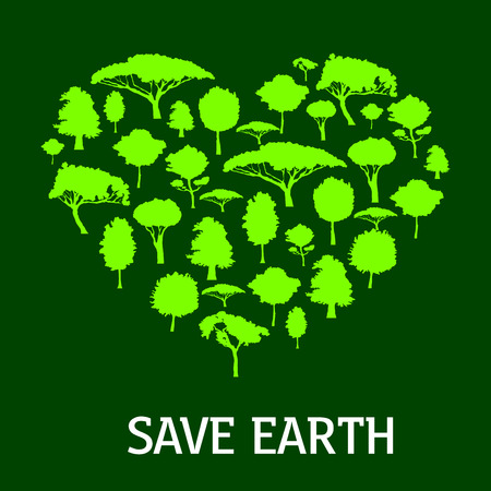 save as: Green heart of nature symbol made up of trees and plants silhouettes. May be use as earth day concept or save nature and eco friendly themes design
