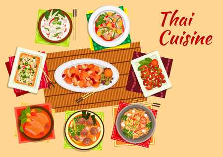 pork: Thai cuisine dinner flat symbol of rice noodles with shrimps, cashew nut chicken, sweet and sour pork, chicken salad, pineapple duck curry, coconut milk chicken soup, lamb curry, pork meatball soup