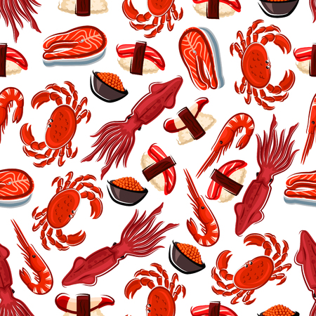 Seafood background with fresh salmon steaks, shrimps, crabs and squids, japanese nigiri sushi with clam and tuna, salted red caviar seamless pattern. Use as restaurant takeaway food packaging or menu backdrop design