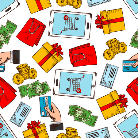 credit cart: Shopping items and gifts seamless pattern background. Wallpaper with vector icons of smartphone, shopping cart, credit card, gift box, money, shopping bag, man hand Illustration