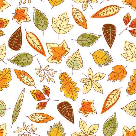 aspen leaf: Leaves pattern background. Seamless wallpaper with foliage. Vector leaf icons of maple, birch, aspen, elm, poplar Illustration