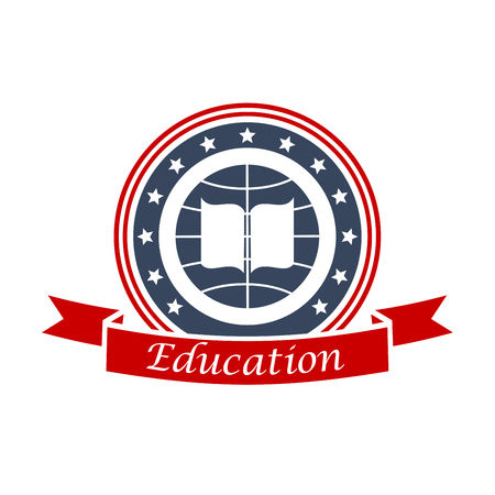 state: Education emblem design with book, globe, red ribbon and stars. Vector circle insignia label for university, college, high school. Education and study graphic shield. Illustration