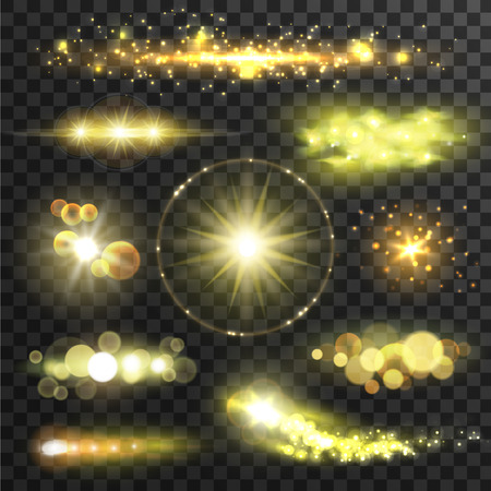 Golden glittering stars. Sparkling sun light flashes with lens flare effect on transparent background. Vector shining gold bokeh elements Stock Illustratie