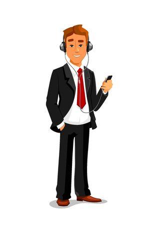 男保有 smatphone、ヘッドフォンでリスニング muisc。オフィス ・ マネージャー、ビジネスマン ベクトル分離文字