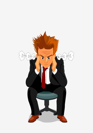 Young businessman exploding with anger and rage. Manager man with angry face and messy hair sitting on chair with hands at head Illustration