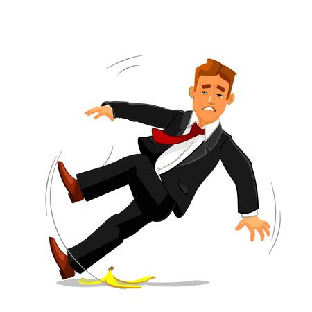 Jonge zakenman uitglijden op banaan schillen en naar beneden vallen. Ongeval, mislukking en pech buinsess metafoor met man vector karakter