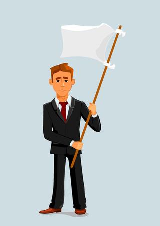 Homme d'affaires tient le drapeau blanc de la capitulation. Capitulation et la défaite des affaires métaphore de caractère homme vecteur Vecteurs