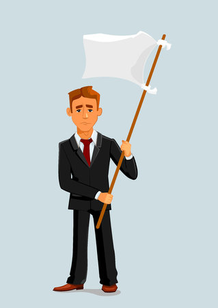 Businessman holds white flag of surrender. Capitulation and defeat business metaphor with man vector character Illustration