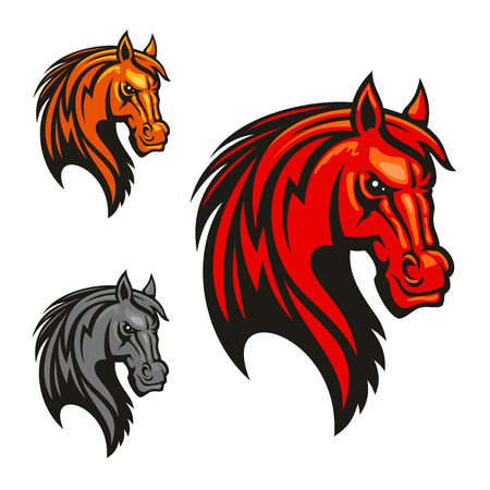 vectro: Horse stallion head icons. Powerful mustang vectro heraldic emblem for sport club emblem, team shield, badge, label, tattoo Illustration