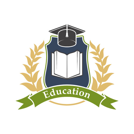Education shield emblem with book, graduation cap, green ribbon and leaves branches. Vector label icon for university, college, high school Illustration