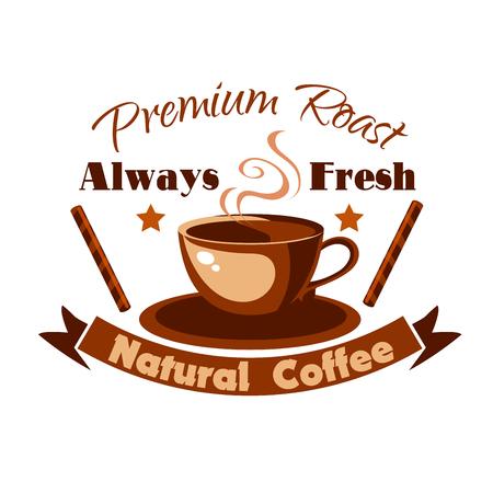 letrero: Caliente icono taza de café con canela en rama. Cafe etiqueta vector de la cafetería, letrero, menú de comida rápida, cafetería