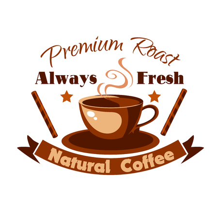 Hot Coffee Cup icon with cinnamon sticks. Cafe vector label for cafeteria, signboard, fast food menu, coffeeshop
